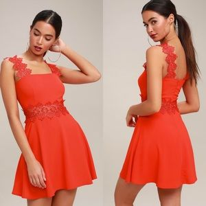 NWT Lulu's Visual Treat Red Lace Skater Dress Med